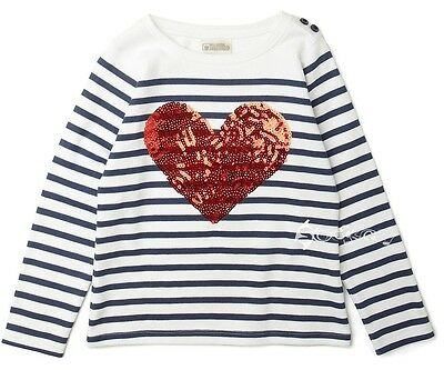 Girls Ex Store Striped Heart Sequin Cotton Top Ages 2-10 Years Jumper Party