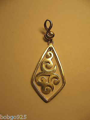Silpada Scrolls Pendant Sterling Silver 925 Vintage Silpada 2 3/8 inches Signed
