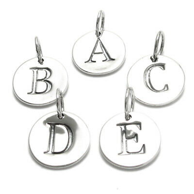 925 Sterling Silver Round Initial Charm Pendant Choose a Letter