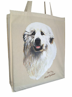 Great Pyrenees Pyrenean Dog Cotton Bag with Gusset and Long Handles Perfect Gift