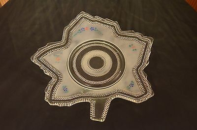 LE Smith #6507 Christmas Tiny Hobnail Maple Leaf Hand Painted Plate 1938