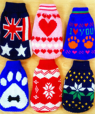 Stylish Warm Pet Cat Dog Clothes Knitted Wool Jumper Sweater Sizes Unisex UK