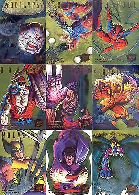 X-Men 1995 Fleer Walmart Hunters & Stalkers Gold Foil Insert Card Set 1 To 9 Ma