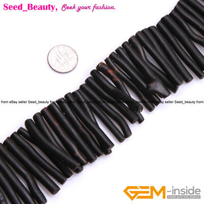 """Natural Black/Gold Coral Gemstone Beads Strand 15"""",  Branch-shape, About 50mm"""