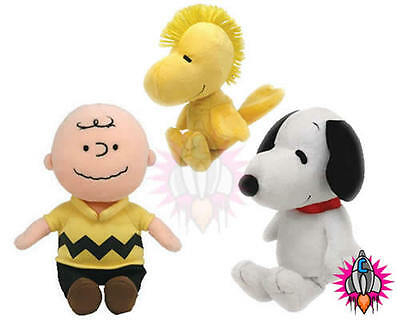 "TY BEANIE BABIES CHARLIE BROWN WOODSTOCK SNOOPY 6"" PLUSH SOFT TOY"