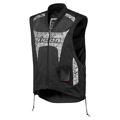 Icon Interceptor black reflective motorcycle vest