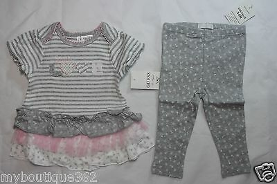 GUESS BABY GIRLS 2 PC SET TIERED DRESS AND LEGGINGS SZ 3-6 MONTH NEW NWT