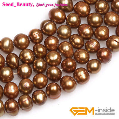"""Freeform Potato Red Lime Bronze Blue Freshwater Pearl Jewelry Making Beads 15"""""""
