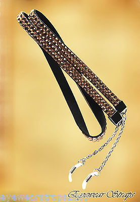 Gorgeous LONG Rhinestone Lanyard Glasses / Sunglasses Strap Holder Chain COPPER