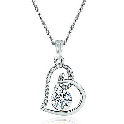Pugster Jewelry Pendant Necklace April Birthstone Clear Crystal For Women C30