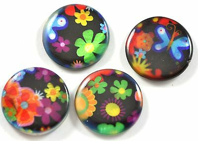 20x Black  Red Green Floral Coin  Flat Round Disc Shell Mother of Pearl  Beads
