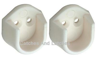 2 x Rail End Supports Brackets for Oval Wardrobe Rails Poles (2 = 1 Pair) WHITE