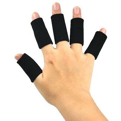 X 10 Black Stretchy Finger Protector Sleeves For Arthritis  - By TRIXES