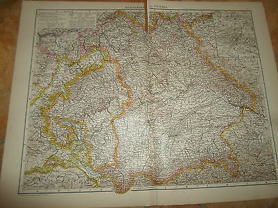 Old Maps WURTEMBERG AND BAVARIA From The Universal Atlas 1893