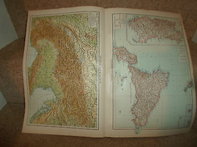 Old Maps GENERAL MAP THE ALPS+SICILY AND SARDINIA From The Universal Atlas 1893