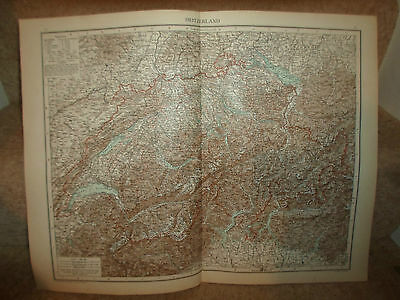 Old Map SWITZERLAND ~ Taken From The Universal Atlas 1893