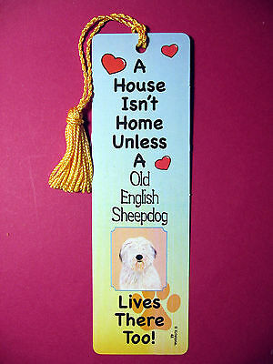 Old English Sheepdog - A House Isn't  Home Tassel KEB (flag gold tassel) Sku# 48