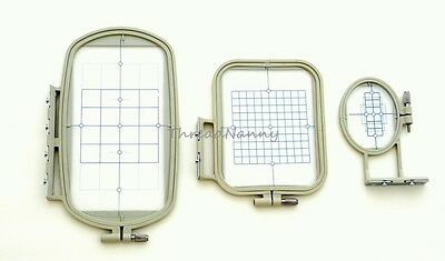 NEW 3-Piece Embroidery Hoop Set for Brother SE400 PE500 LB6800 Machines Free S&H