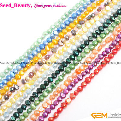 "6-7mm Freeform Freshwater Pearl Beads For Jewelry Making 13"" Dyed Natural Pearl"