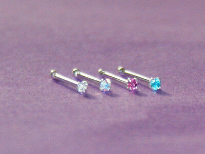 Silver Ball End Nose Bone Stud With A Tiny 1 Mm Crystal Choice Available