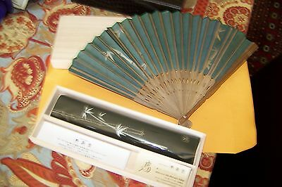 Exquisite Maisendo Paper Fan, Handcrafted, w/ silk pouch and original box, Japan
