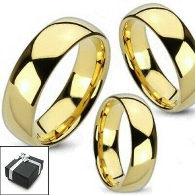 Tungsten 14K Gold Plated Plain Wedding Band Ring Size 5-15 (Half sizes avail.)
