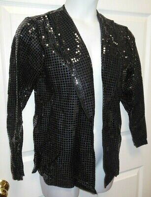 NWT Black Sequin Shirt Jacket Long Sleeve Child Ladies mens Dance Theatrical