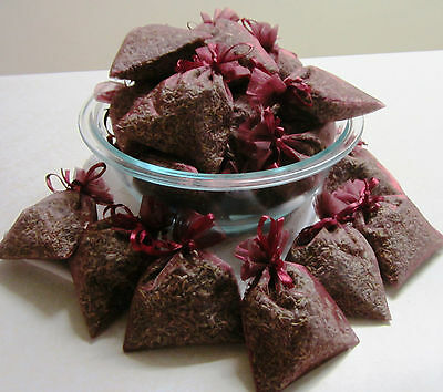 Set of 50 Lavender Sachets made with Burgundy Organza Bags
