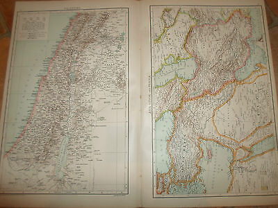 Old Maps PALESTINE ~ ASIA MINOR+PERSIA ~ From The Universal Atlas 1893