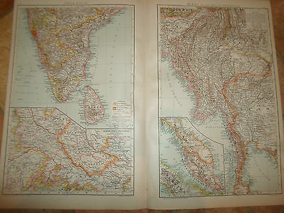 Old Maps BURMA+MALAY PENINSULA+INDIA SOUTH ~ Taken From The Universal Atlas 1893