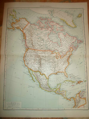 Old Map NORTH AMERICA ~ Taken From The Universal Atlas 1893