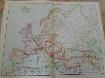 Old Map EUROPE (GENERAL MAP) ~ Taken From The Universal Atlas 1893