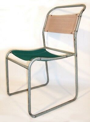32 Available Vintage Tubular Steel & Canvas Stacking Chairs - Kitchen Church • £32.00