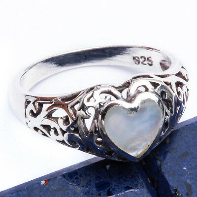 FRESH WATER PEARL HEART .925 Sterling Silver Ring SIZES 6-9