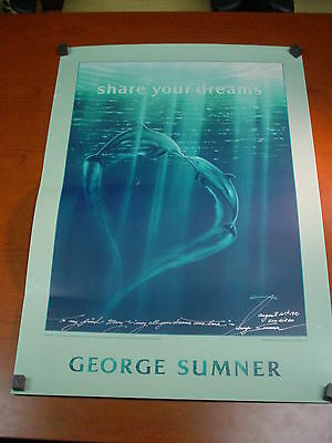 "Signed Art Poster HARMONY II by GEORGE SUMNER 34""x24"" DOLPHINS Porpoise MARINE"