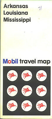 1967 Mobil Arkansas/Louisiana/Mississippi Vintage Road Map