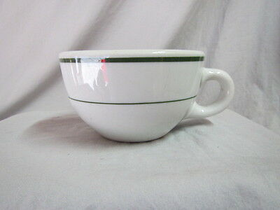 "SHENANGO COFFEE CUP MUG USA 5 oz Espresso Heavy China 2.25"" tall - Green Stripe"