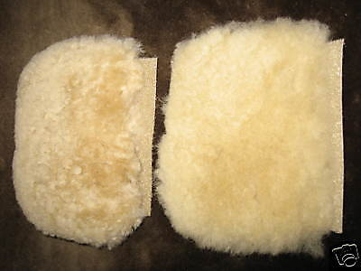"2 Pilates Machine Workout Exercise Strap PadsTan Merino Sheepskin 4.5""L JMS USA"
