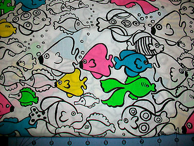 Rainbow Fish On White Cotton Fabric