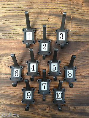 10 X Cast Iron School Coat Hooks With Ceramic Number Inserts ~ Vintage Style ~
