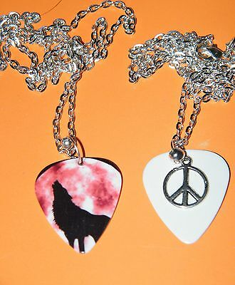 """WOLF NECKLACE HOWLING Moon & PEACE SIGN GUITAR PICK WOLVES 23"""" SILVER CHAIN NEW"""