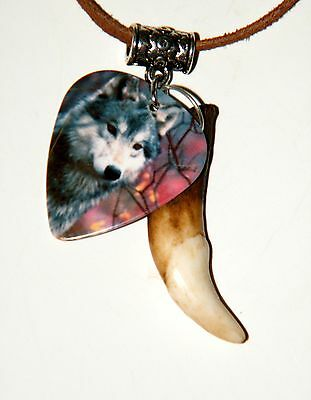 "GRAY WOLF Necklace & Real Coyote Tooth 28"" Leather WOLF Pix on Pick Choker NEW!"