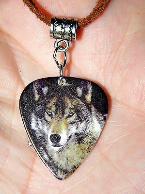 "WOLF GUITAR PICK NECKLACE GRAY WOLF & SILVER CHARM 29"" Leather Wolf Pick Choker"