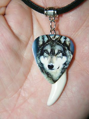 "GRAY WOLF NECKLACE HOWLING WOLVES WHITE Coyote TOOTH CHOKER! 27"" Black Leather"
