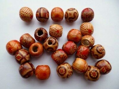 Rare Genuine Carved Wood Mixed Pattern Japanese Ojime Netsuke old Beads Pendant
