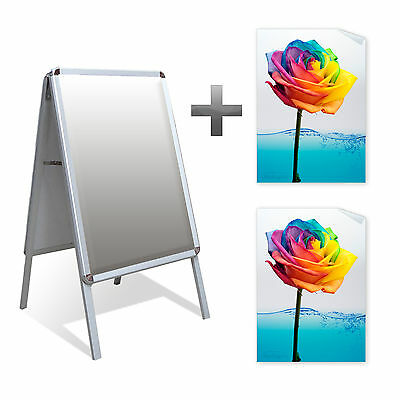 A2 A-Board Pavement Sign Outdoor Display Stand Snapframe & 2x Waterproof Posters