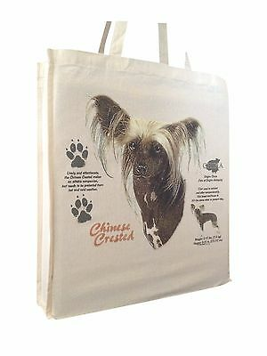 Chinese Crested (w) Cotton Shopping Bag with Gusset & Long Handles Perfect Gift