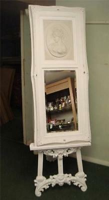 Large Ornate White Wall Mirror with Marble Lady Plaque