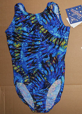 NWT Motionwear Gymnastic Leotard Blue Foil Hologram Child Sizes