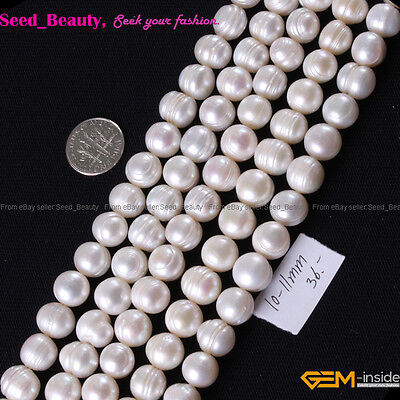 """Natural White Round Freshwater Pearl Gemstone Beads 15"""" 7/8/9/10/11/12mm Select"""